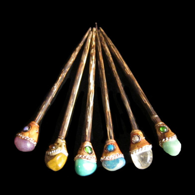 Hair Sticks with Real Stone