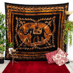 Gold and Black Elephant Tapestry