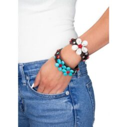 Handmade Flower Cuff Bracelet With Howlite and Coral