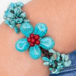 Handmade Howlite and Coral Flower Bracelet