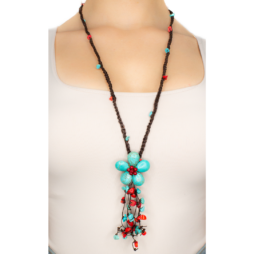 Coral & Blue Howlite Dangle Handmade Necklace