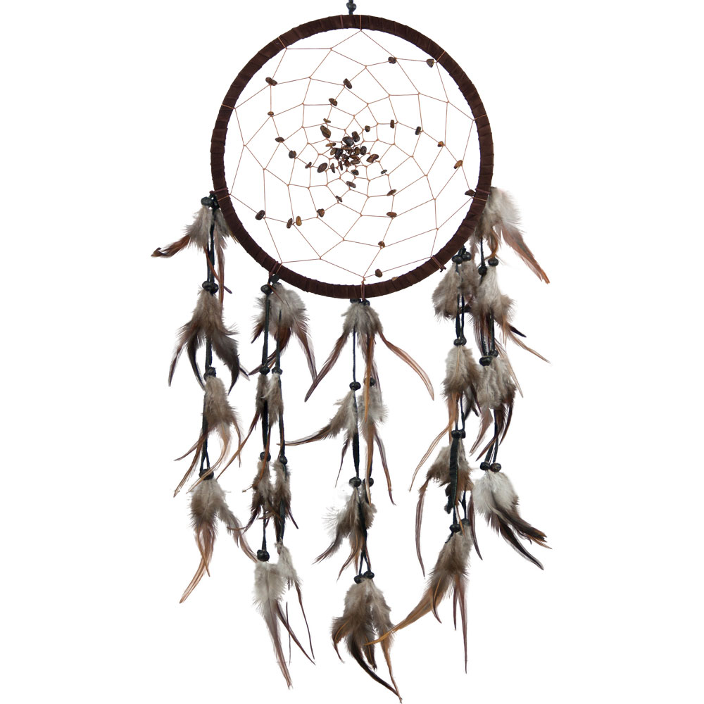 Brown Dreamcatcher with Embroidered Stones and Feathers