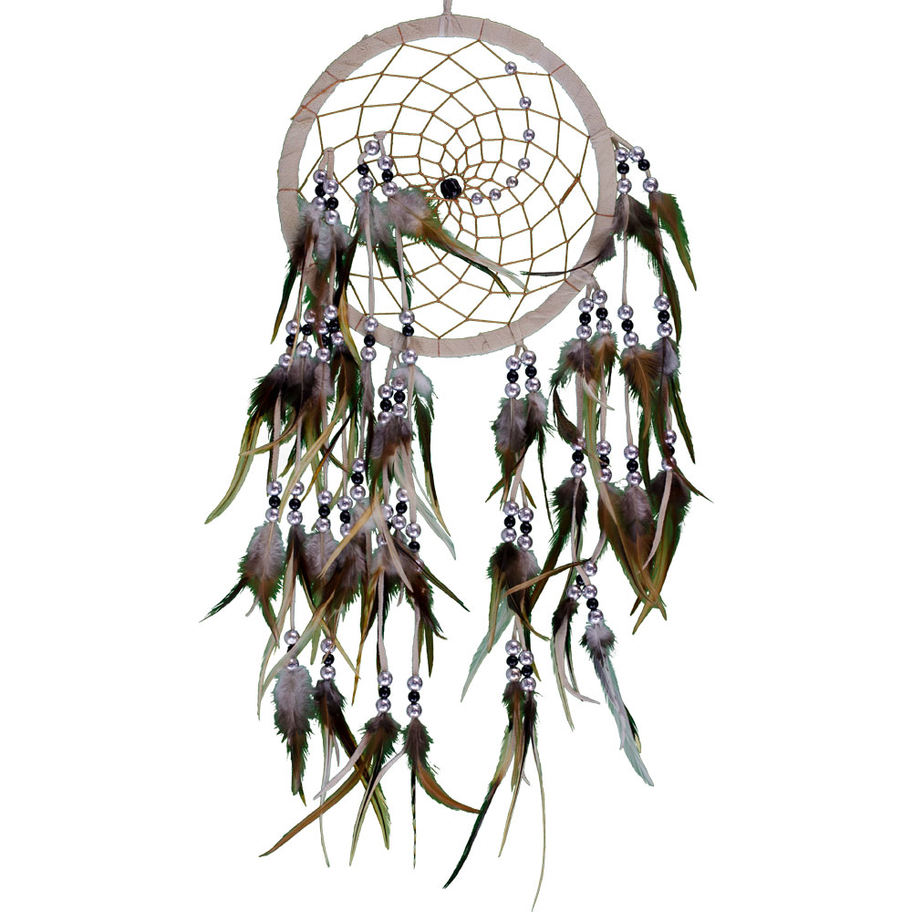 Beige Dreamcatcher with Embroidered Clear Quartz and Feathers
