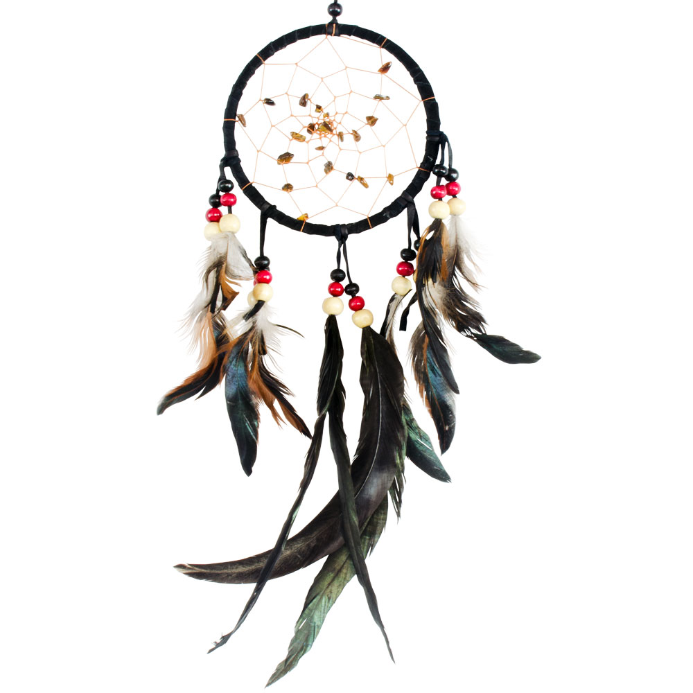 Black Dreamcatcher With Embroidered Stones and Natural Feathers