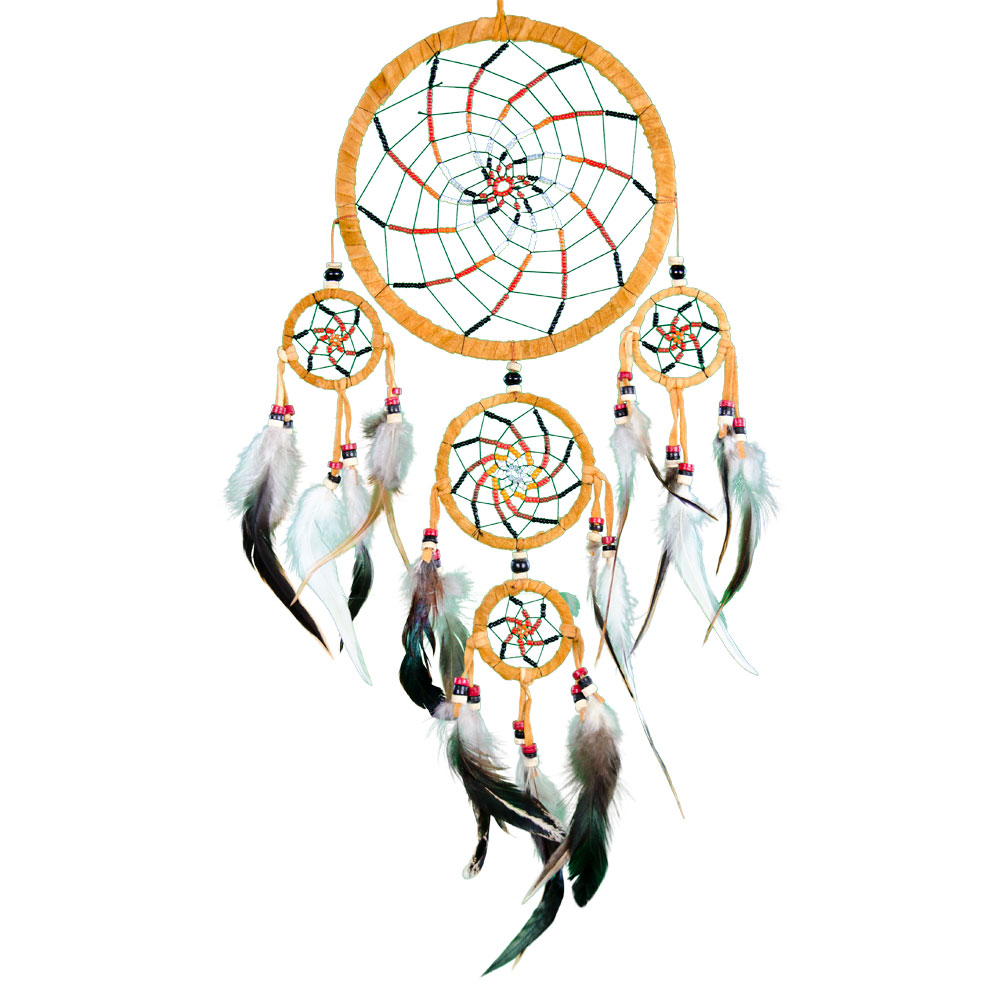 Brown Swirl Dreamcatcher Embroidered with Beads