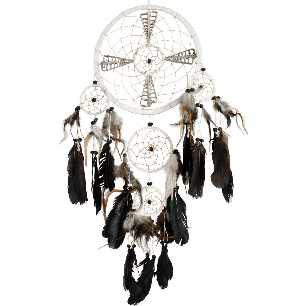 White Dreamcatcher Embroidered with Silver Totems