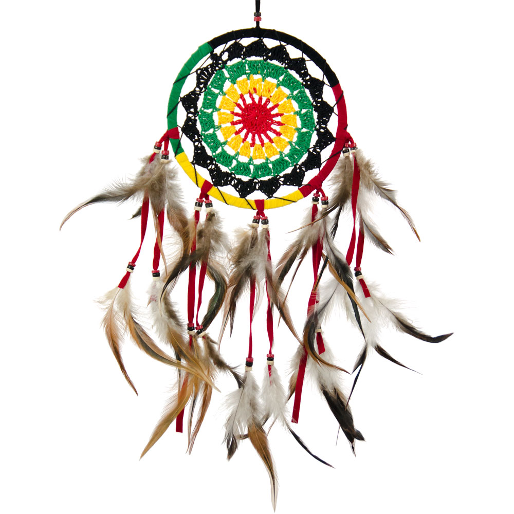 Multicolored Dreamcatcher with Brown Feathers