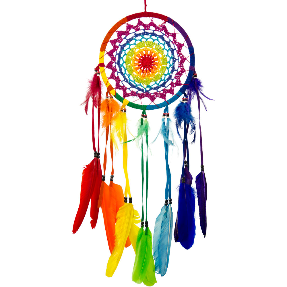 Rainbow Feathered Macrame Dreamcatcher
