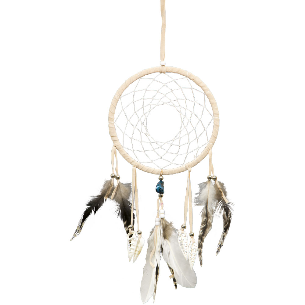 Beige and Brown Feathered Dreamcatcher