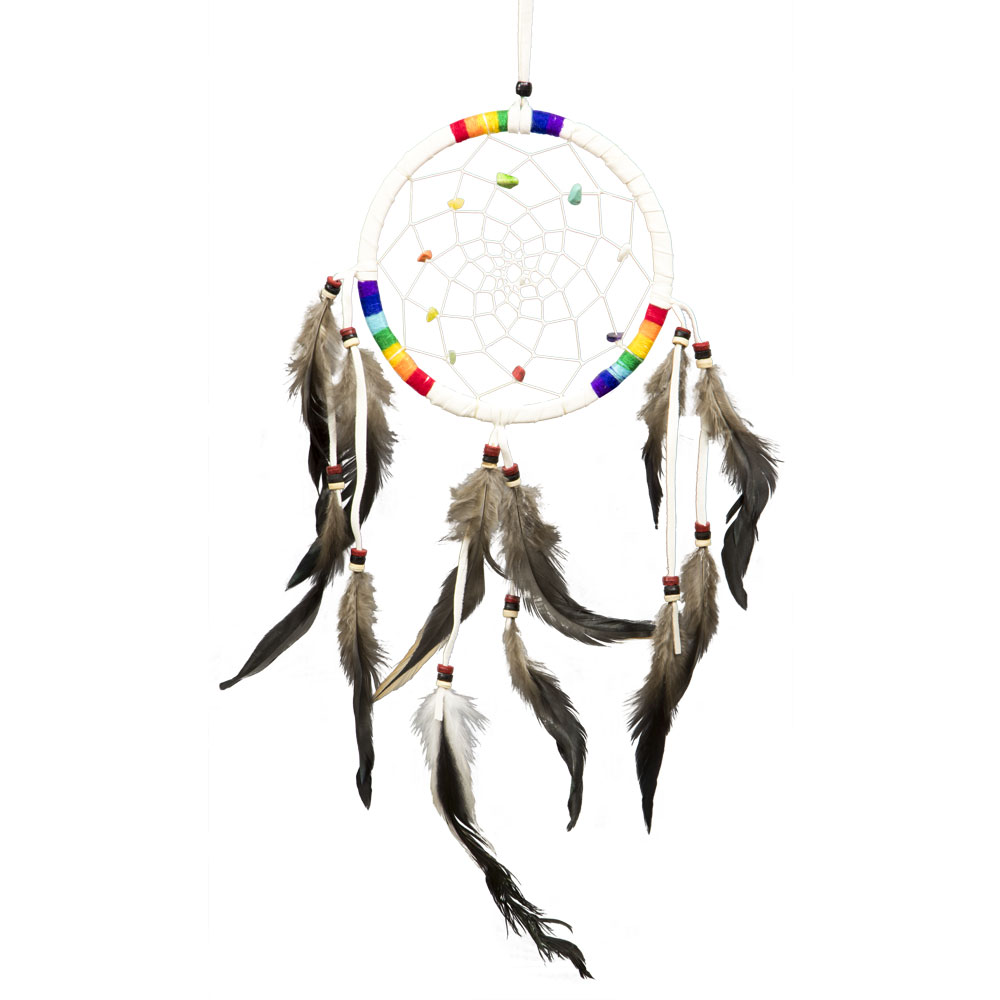 White Dreamcatcher with Rainbow embroidery