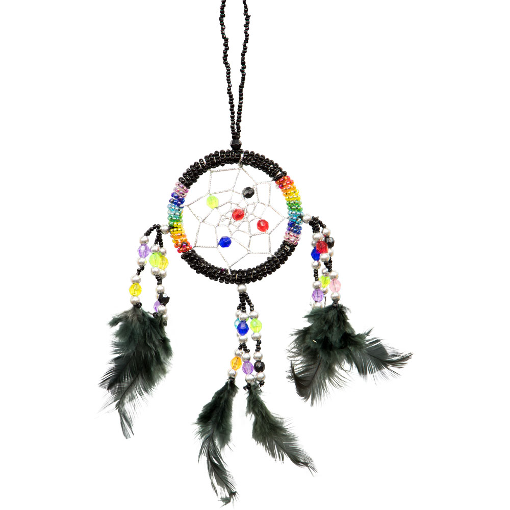 Hand Embroidered Black Dreamcatcher with Beads