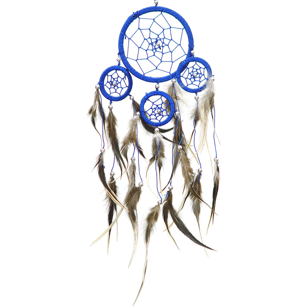Hand Threaded Blue Dreamcatcher with Natural Feathers