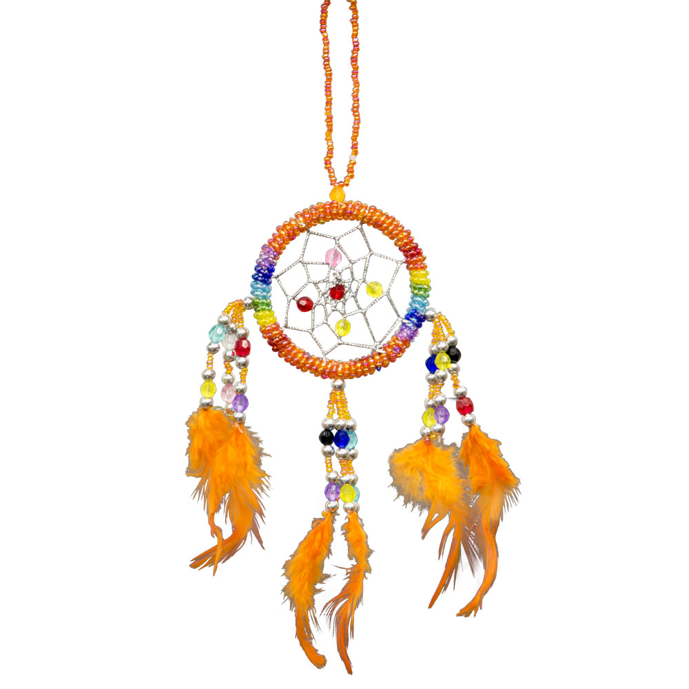 Hand Embroidered Orange Dreamcatcher with Beads