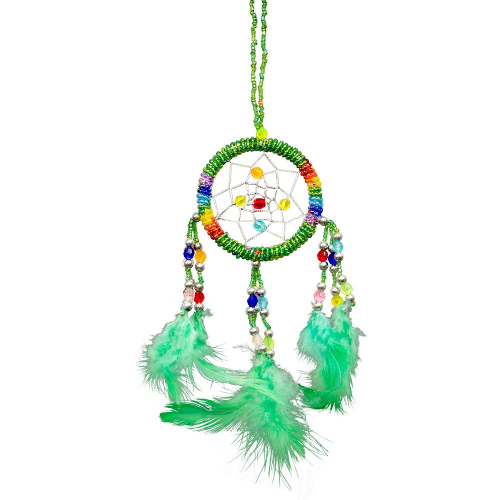 Hand Embroidered Green Dreamcatcher with Beads