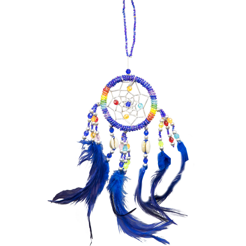 Hand Embroidered Blue Dreamcatcher with sea shells