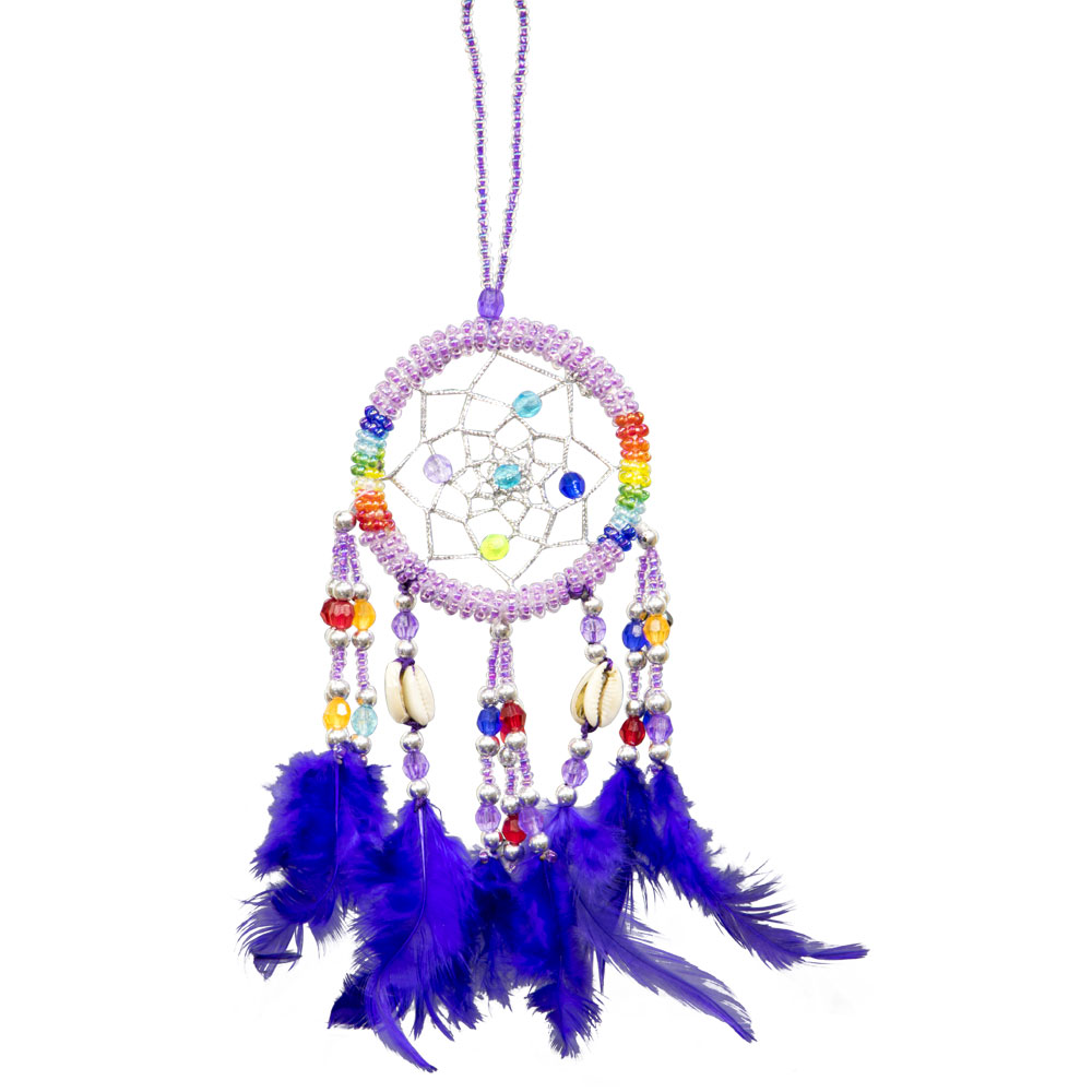 Hand Embroidered Purple Dreamcatcher with sea shells
