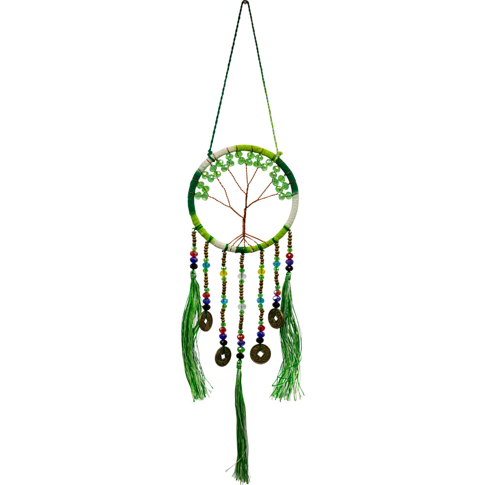 Copper Wired Tree of Life Green Fortune Dreamcatcher