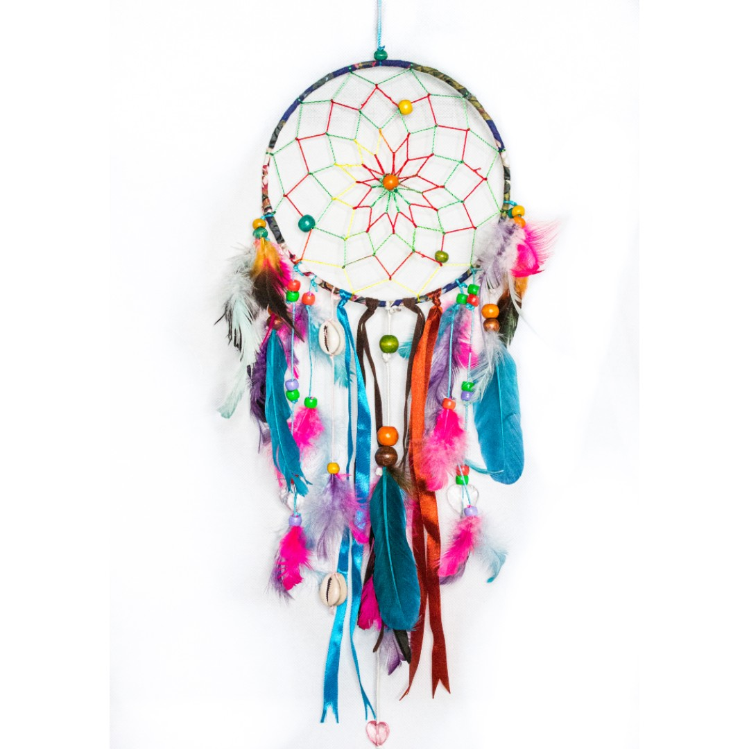 Multicolored Ribboned and Beaded Dreamcatcher
