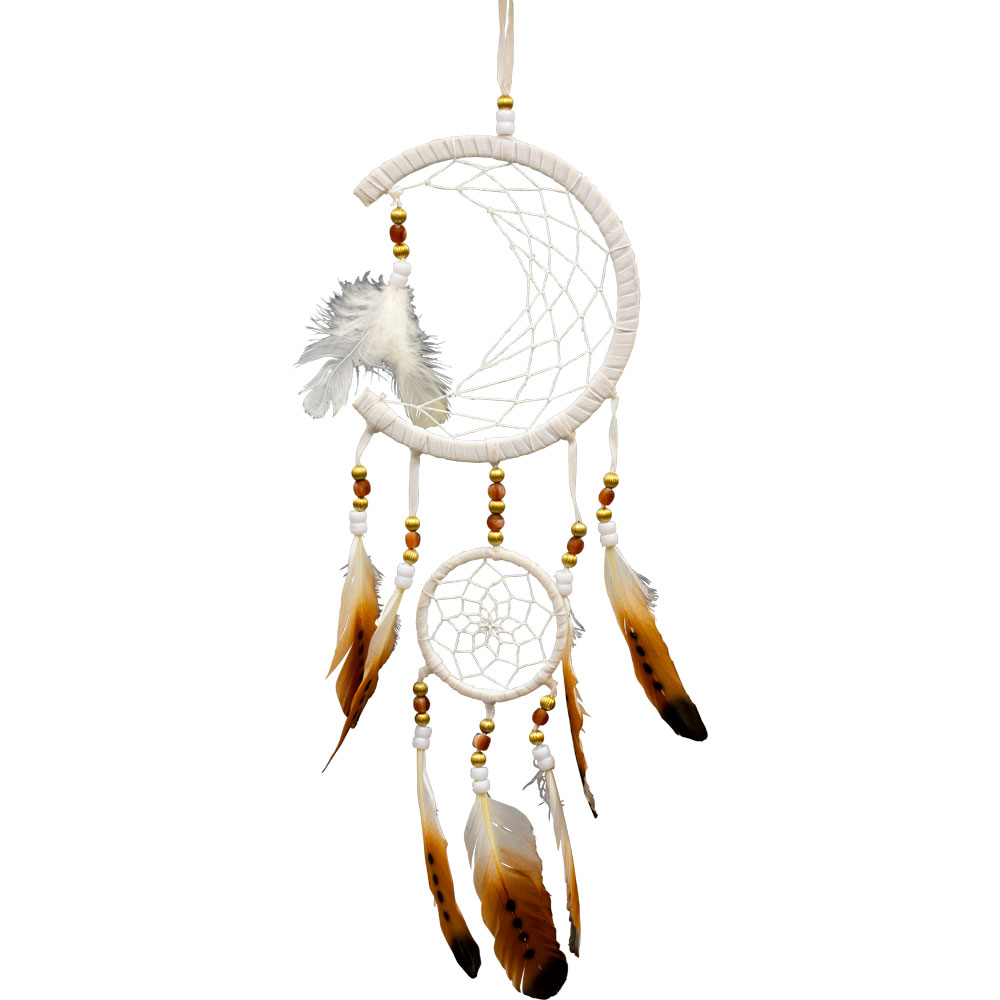 Moon Phase White and Brown Feathered Dreamcatcher
