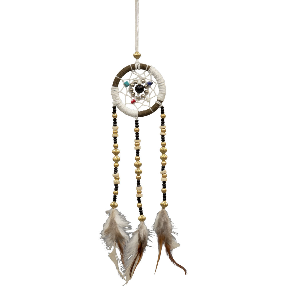 White and Brown Macrame Beaded Dreamcatcher