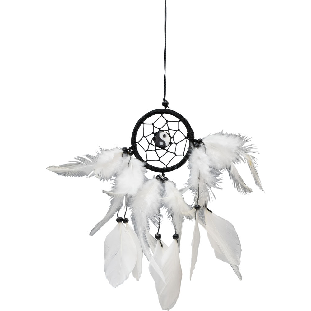 Ying and Yang Feathered Dreamcatcher