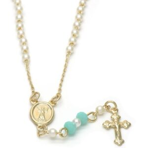 Gold Layered Medium Thin Rosary, Divino Niño and Crucifix Design, with Mother of Pearl