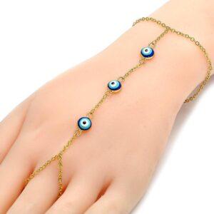 Gold Finger Chain Decor with Blue Evil Eye