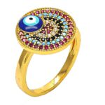 Gold Ring with Blue Evil eye and Multicolor Gemstones