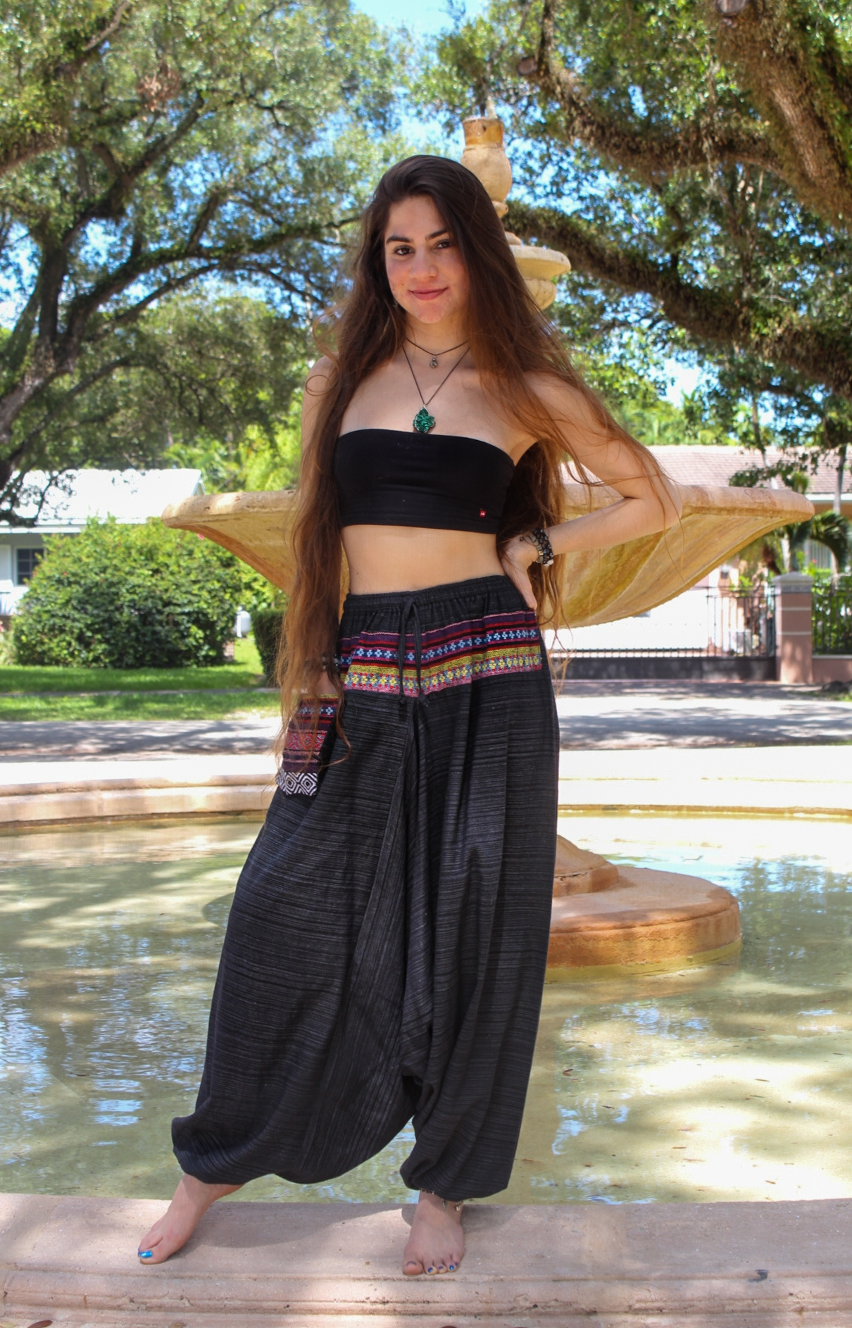 Model Wearing Handmade Thai Pants and Agate Necklace