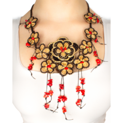 Multi Flowers with Dangling Coral Handmade Strand Necklace