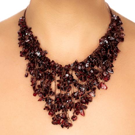 Handmade Garnet Fringed Collar Necklace