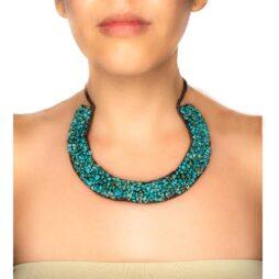 Handmade Woven Howlite Horseshoe Necklace