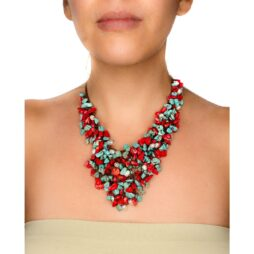 Handmade Fringe Necklace with Coral, Howlite and Mother of Pearl Accents