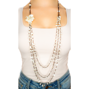 Peal Flower Handmade Strand Necklace